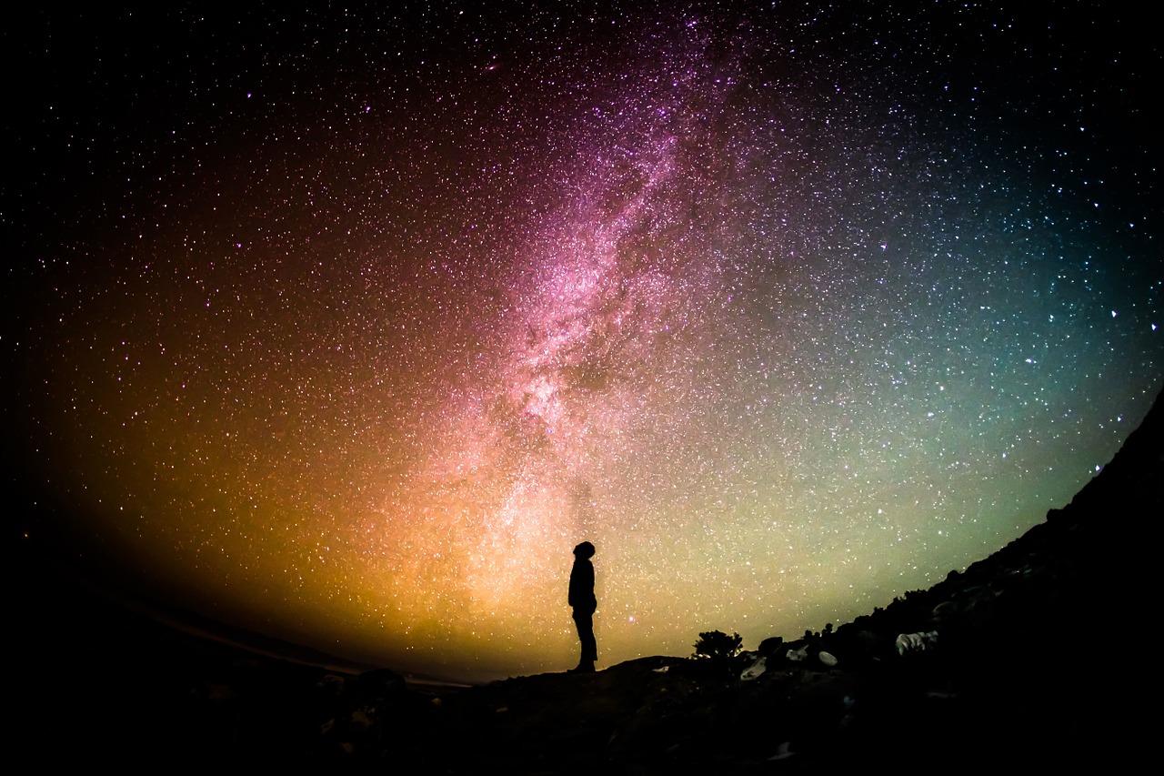 星を見てたたずむ人